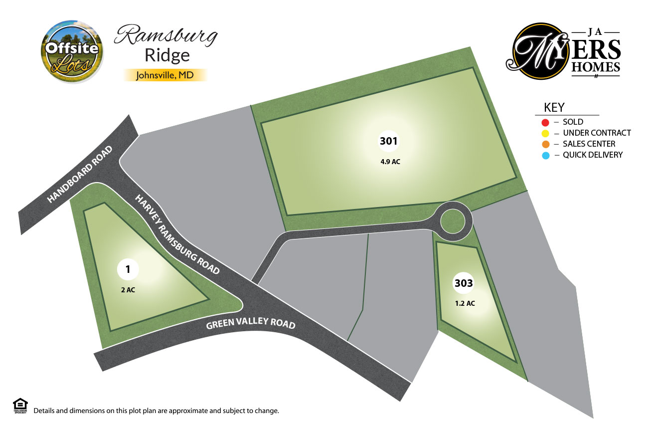 Ramsburg Ridge offsite lots in Frederick Maryland by J.A. Myers Homes