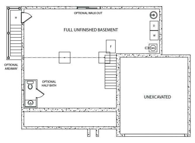 Concord Model Foundation Floor Plan by J.A. Myers Homes
