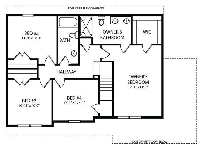 Concord Model Second Floor Plan by J.A. Myers Homes
