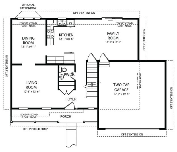 Concord Model First Floor Plan by J.A. Myers Homes