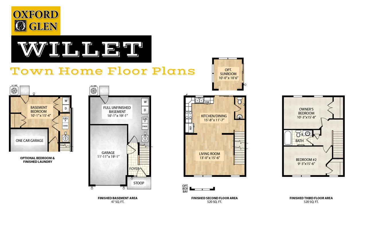 Willet Town Home Floor Plans