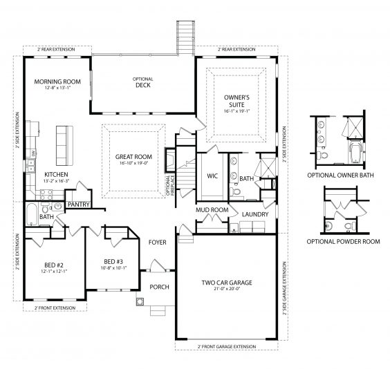 Olivia model first floor plan by J.A. Myers Homes in Hanover, PA