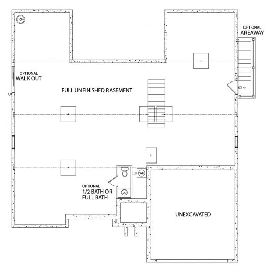 Olivia model foundation floor plan by J.A. Myers Homes in Hanover, PA