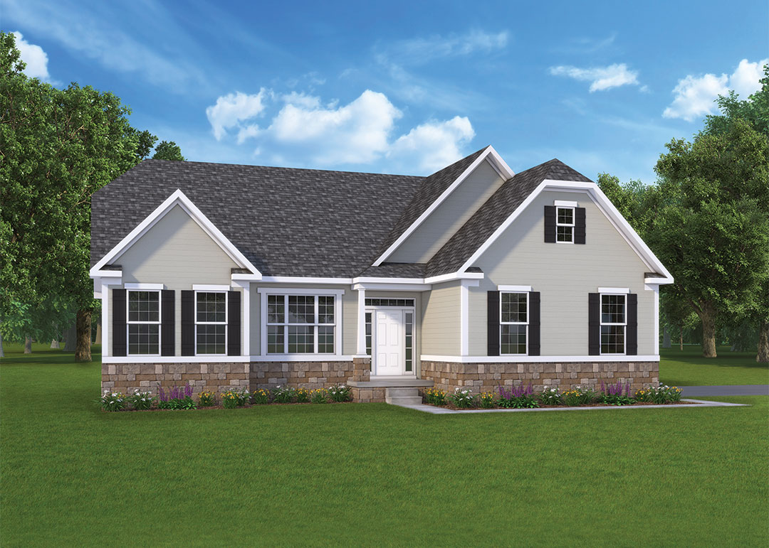 Olivia model elevation by J.A. Myers Homes in Hanover, PA with a side load garage