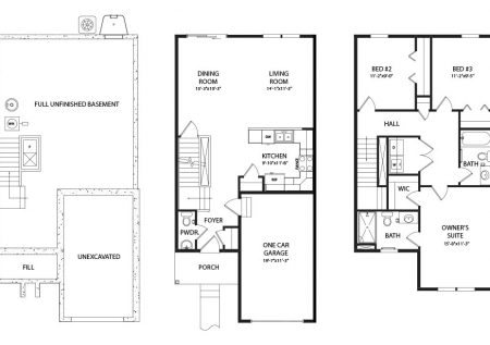 Franklin Model Floorplan for J.A. Myers South Heights townhomes