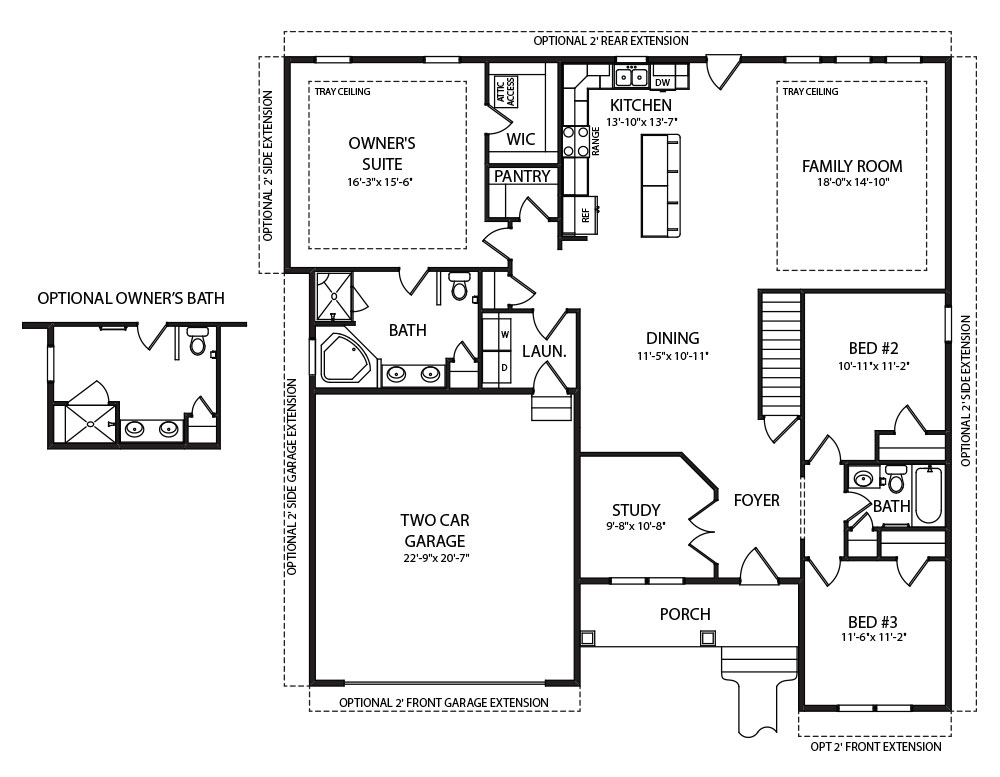 Autumn model first floorplan for new homes by J.A. Myers Homes