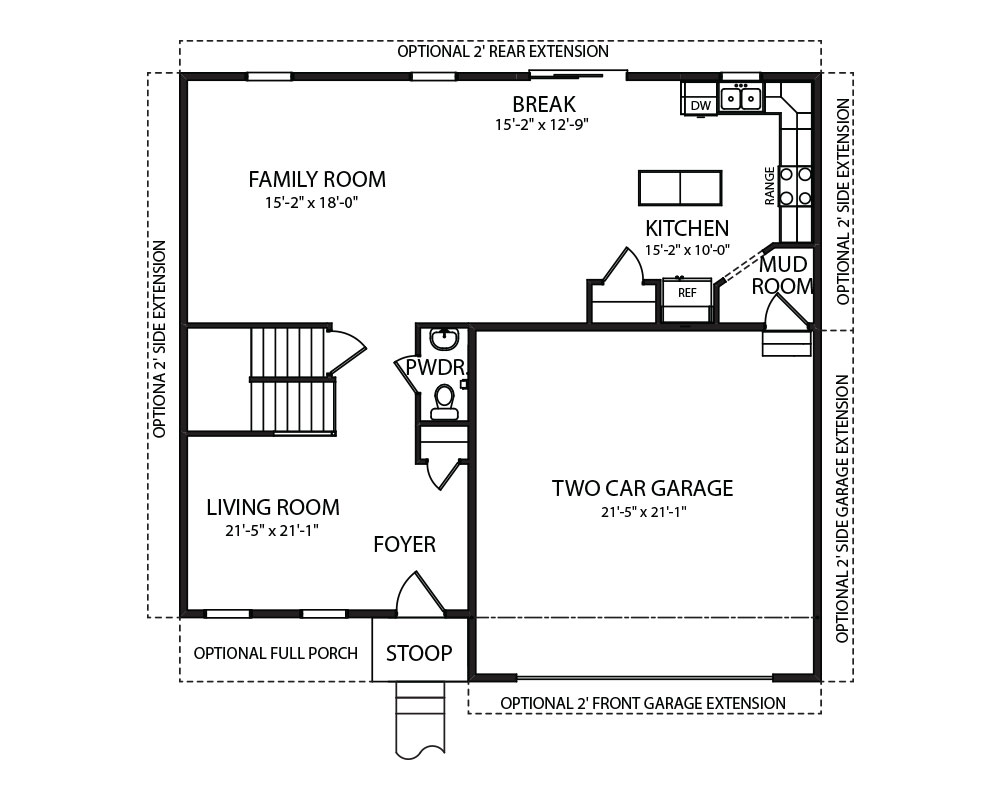 Belfare model and floorplan by J.A. Myers Homes in Hanover, PA